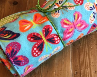 Butterfly Print Flannel Burp Cloths