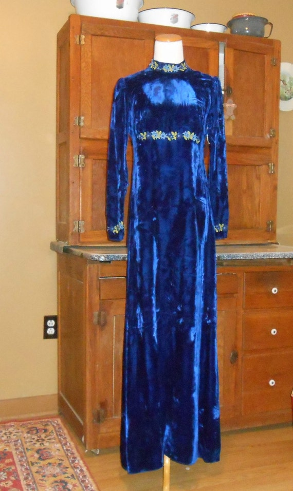 Holiday Dress 70's Maxi Dress Blue Velvet Dress Si