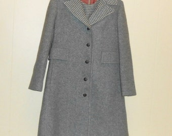Dress and Coat Set 60's Wool Suit Houndstooth Suit Size 8-10