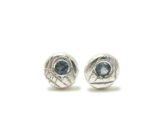 e0ac0fde1 Pebble Montana Sapphire Studs | Recycled Sterling Silver and pale Montana  sapphires