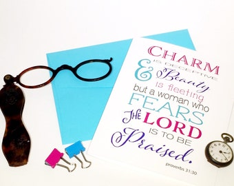 Christian Cards - Bible Verse Card - Proverbs 31:30 - Faith Based Cards - Proverbs Card - Christian Note Card - Christian Card for Women