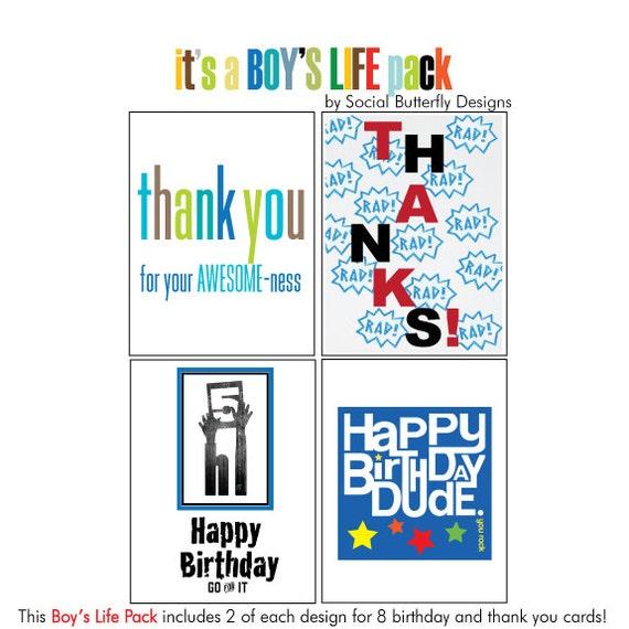 Boys social cards boy birthday cards boy thank you notes etsy image 0 m4hsunfo