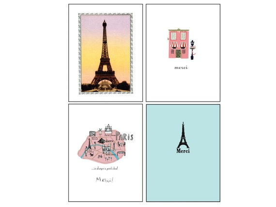 Paris Greeting Cards Merci Note Cards Francophile Gift Etsy