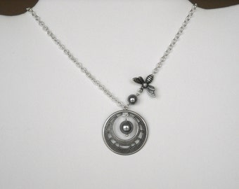 Little Bee Pendant Necklace, Statement Necklace, Lariat, Silver bee,  gray pearls, hoop, Bridal necklace, Free Shipping, Gift,