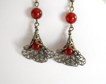 Be My Valentine's  Dangle Earrings, Drop earrings, Calla Drop, Red Agate, Vintage calla, Gift, Free Shipping earrings