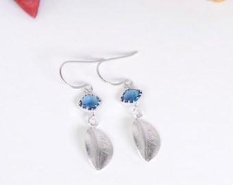 Blue Sapphire - Leaf  earrings, Dangle Earrings, Silver Plated earrings, wedding earrings, Blue Sapphire Faceted, blue  and silver  earrings
