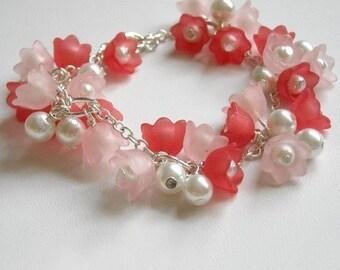 Pink Blossom Bracelet, Flower bracelet, Chain Bracelet, Charm Bracelet, Wedding bracelet, Gift ,Free Shipping,