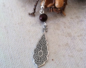 Maya's Dangle Earrings, Drop Earrings, Dangle, Cluster, Burgundy  pearls, Silver earrings, Gift