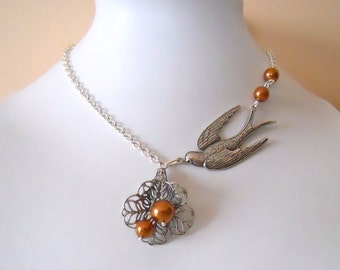 Free Shipping Bird and flower pendant Necklace, Statement necklace, Lariat, Silver sparrow bird, Cala lily, Wedding necklace,Copper Pearls