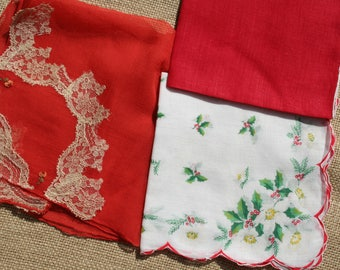 Vintage Christmas Hankies Handkerchief Lot of 3