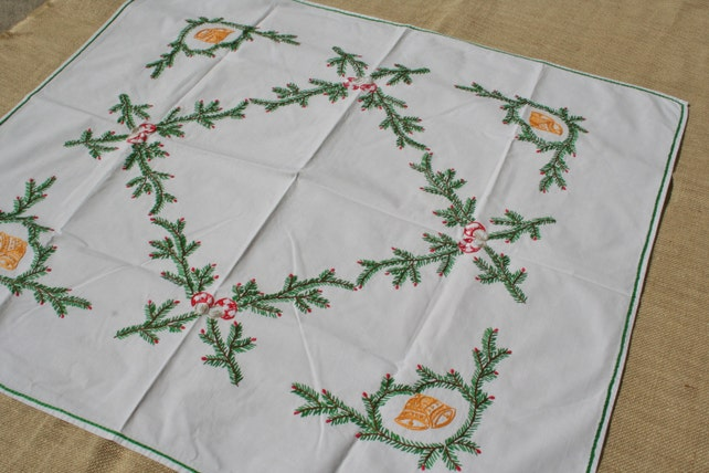 Vintage Christmas Tablecloth Embroidered Pine Branches Bells Mushrooms