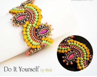 Beading Pattern Tutorial Step by step INSTANT download PDF - Dragon Dance Reloaded III. Bracelet No.26