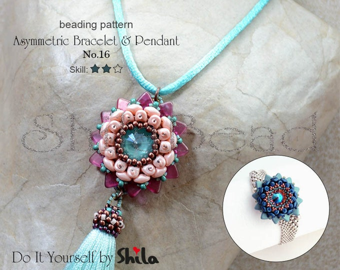 Beading Pattern Tutorial Step by step INSTANT download PDF - Asymmetric Bracelet & Pendant No. 16