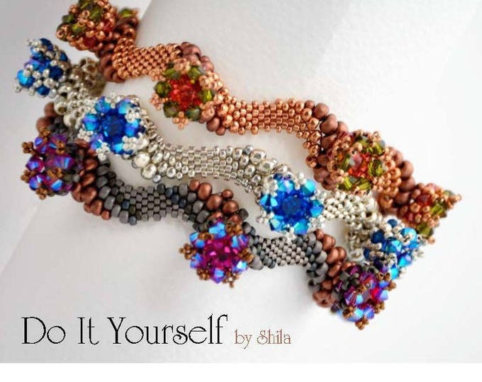 Weaves of La Manche Step by step INSTANT download Pdf beading PATTERN Bracelet #33
