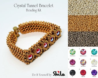 Beading Kit with Miyuki beads and Swarovski Round Stones SS40, Crystal Tunnel No. 53