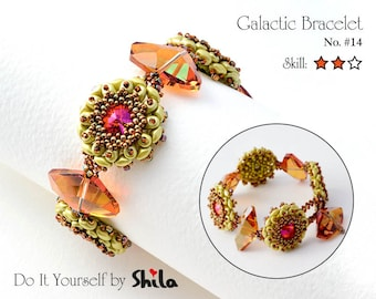 Beading Pattern Tutorial Step by step INSTANT download PDF - Galactic Bracelet No. 14
