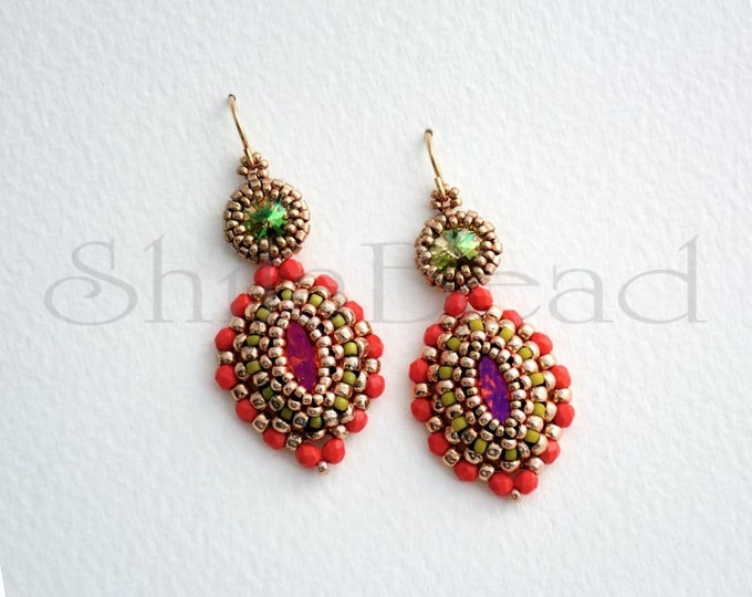 Earrings with Swarovski Crystal Navette and Rivoli  Luminous Green/Coral