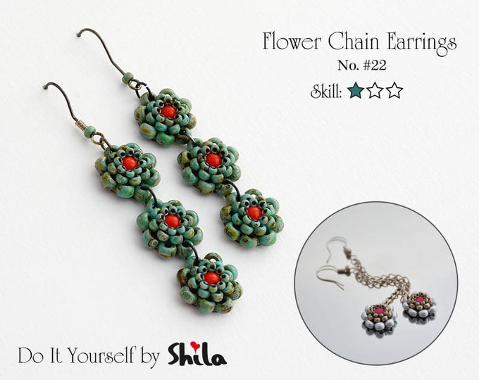 Beading Pattern Tutorial Step by step INSTANT download PDF - Flower Chain Earrings No. 22