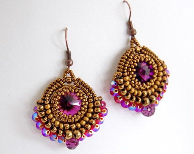 Enchanted Rivoli Earrings Bronz/Amethyst