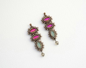 Beaded Jewellery - Stacked Earrings with Swarovski Bicone