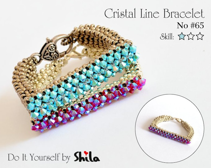 Beading Pattern Tutorial Step by step INSTANT download PDF - Crystal Line Bracelet No. 65