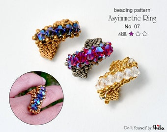 Beading Pattern Tutorial Step by step INSTANT download PDF - Asymmetric Ring I. No. 07