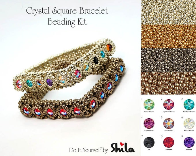 Beading Kit with Miyuki beads and Swarovski Flat Back Crystal Stones SS40, Crystal Square Bangle No. 55 Silver/Gold/Pewter