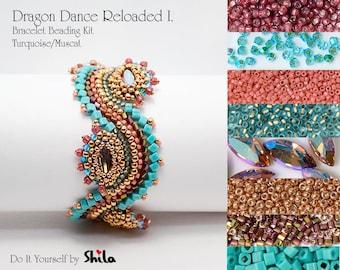 Beading Kit with Japanese Beads and Swarovski Navette 15x7 mm, Dragon Dance Reloaded I. Bracelet No. 18 Blue/Muscat