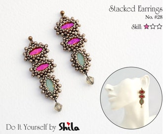 Beading Pattern Tutorial Step by step INSTANT download PDF - Stacked Earrings No. 28