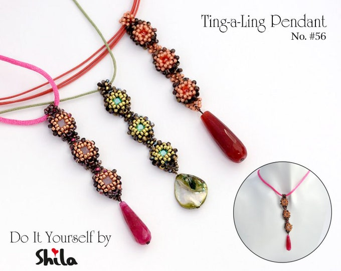 Beading Pattern Tutorial Step by step INSTANT download PDF - Ting-a-ling Pendant No. 56