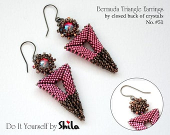 Beading Pattern Tutorial Step by step INSTANT download PDF - Bermuda Triangle Earrings No. 51