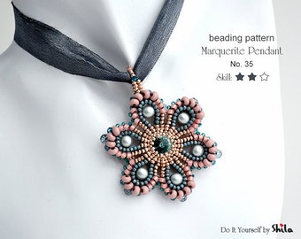Beading Pattern Tutorial Step by step INSTANT download PDF - Pendant Marguerite #35