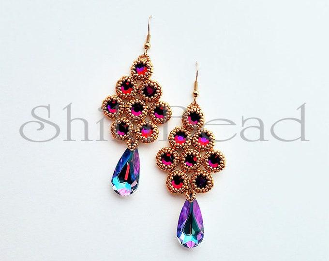 Volcano Rhineston Earrings with bezel