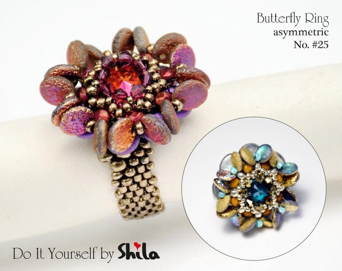Butterfly asymmetric Ring Step by step INSTANT download Pdf beading PATTERN No. #25