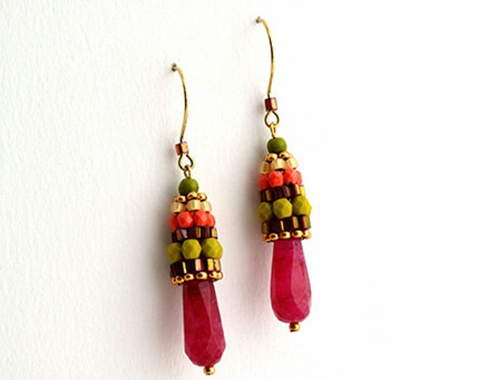 Beaded Jewellery - Earrings with natural Ruby Faceted Long Drop