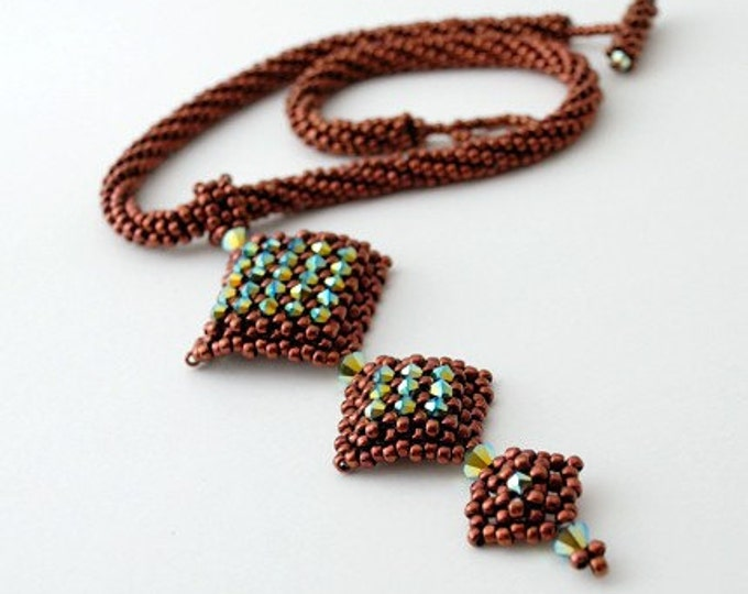 Beaded Jewellery - Chocolate with Kiwi Necklace
