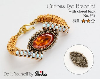 Beading Pattern Tutorial Step by step INSTANT download PDF - Curious Eye Bracelet  No. 64