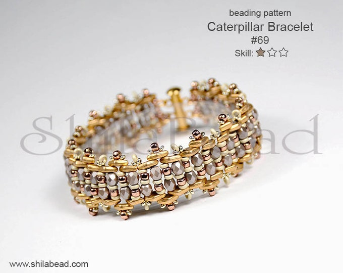Beading Pattern Tutorial Step by step INSTANT download PDF - Caterpillar Bracelet No. 69
