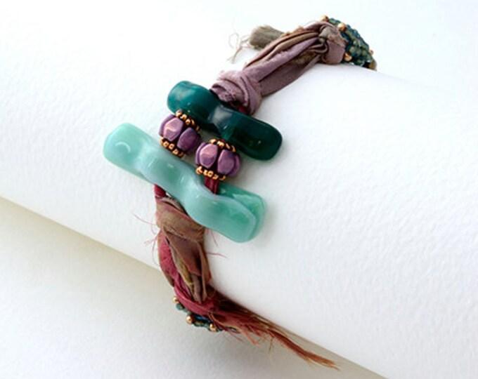 Beaded Jewellery - Bracelet with silk