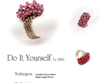 Beading Pattern Tutorial Step by step INSTANT download PDF - Asymmetric Ring II No. 09