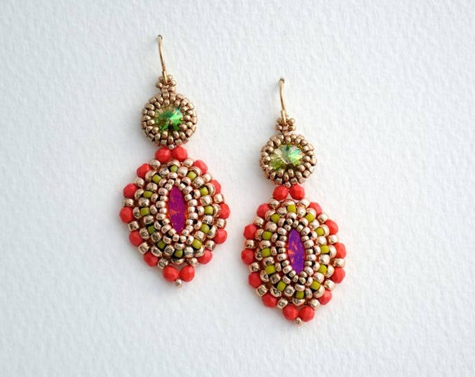 Earrings with Crystal Navette Luminous Green/Coral