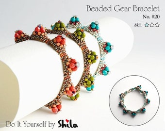 Beading Pattern Tutorial Step by step INSTANT download PDF - Beaded Gear Bracelet with Fire polished beads No. 20