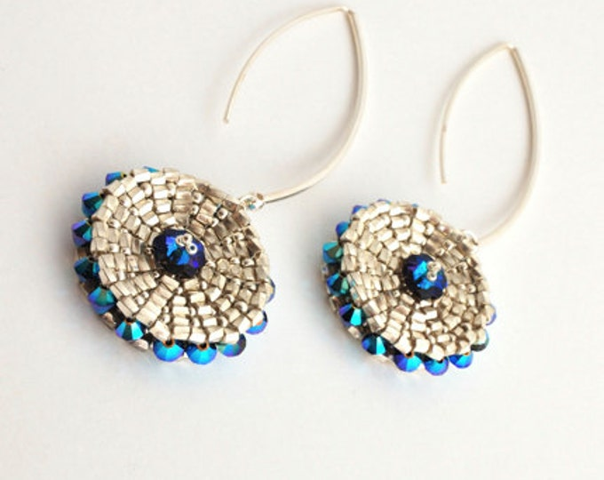 Swarovski Disk Earrings Blue