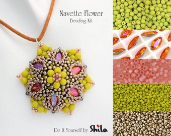 Beading Kit with Japanese beads, Czech beads and Swarovski Navette 15x7 mm,  Beaded Pendant No. 41 Pewter/Lemongrass