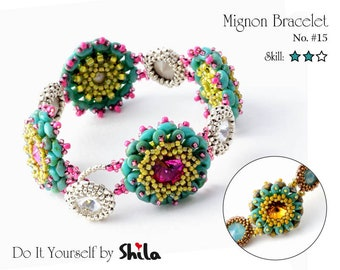Beading Pattern Tutorial Step by step INSTANT download PDF - Mignon Bracelet No. 15