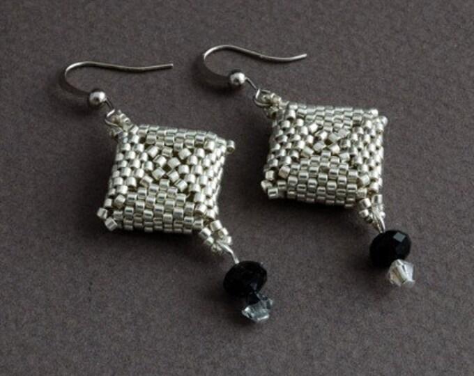 Beaded Jewellery - Chessboard Earrings
