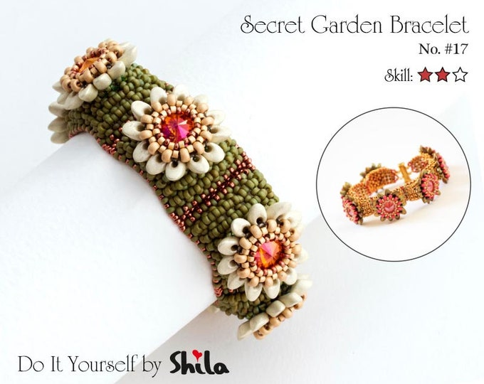 Beading Pattern Tutorial Step by step INSTANT download PDF - Secret Garden Bracelet No. 17