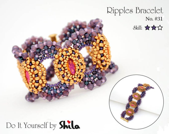 Beading Pattern Tutorial Step by step INSTANT download PDF - Ripples Bracelet No. 31