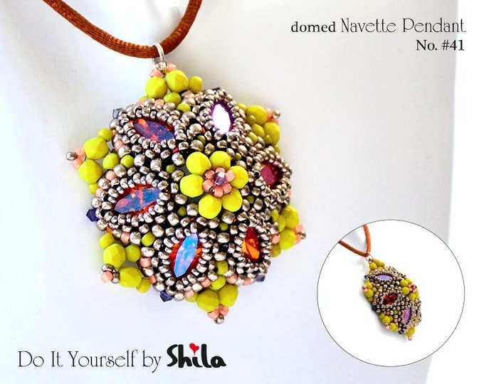 Beading Pattern Tutorial Step by step INSTANT download PDF - Flower Navette Pendant No. 41