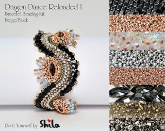 Beading Kit with Japanese beads and Swarovski Navette 15x7 mm, Dragon Dance Reloaded I. Bracelet No. 18 Black/Beige